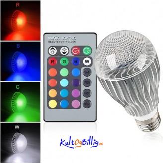 E27 9W 16-fargers LED lyspære med IR fjernkontroll