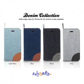 Kajsa Elegant Denim/ Skinn Multifunksjons Deksel For iPhone 5S