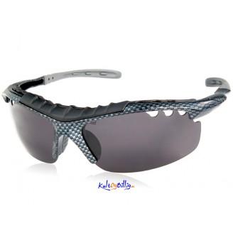 Sporty solbriller i karbon design. Polarisert linse.