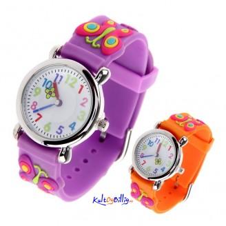 Sommerfugl 3D Quartz armbåndsur med gummi-rem (Velg farge)