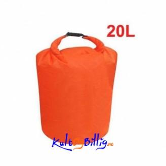 20L vanntett sekk perfekt for f.eks. kano og kajakk