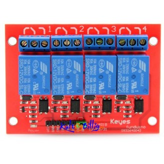4-kanals relé modul 12V - 4-channel Relay Shield Module 12V