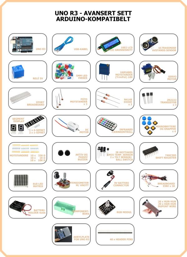 Uno r avansert sett arduino kompatibelt advanced kit